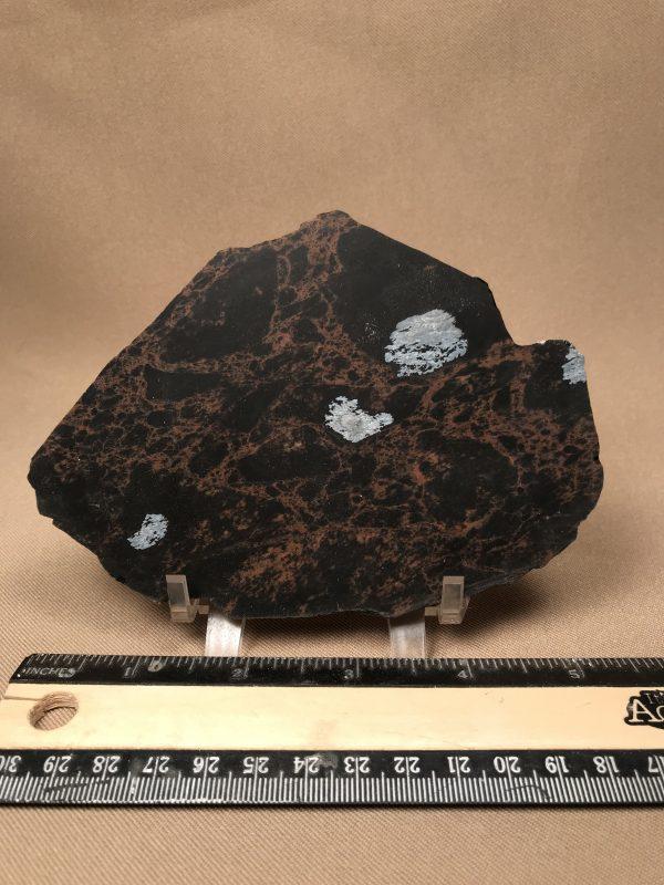 Obsidian, mahogany lace with snowflakes, slab